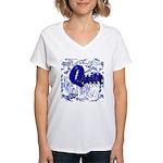 Quilt Blue Women's V-Neck T-Shirt