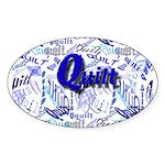 Quilt Blue Oval Sticker (50 pk)