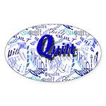 Quilt Blue Oval Sticker (10 pk)