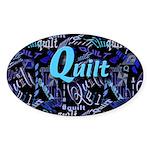 Quilt Blue Dark Oval Sticker
