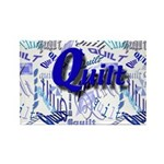 Quilt Blue Rectangle Magnet (100 pack)