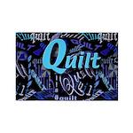 Quilt Blue Dark Rectangle Magnet (100 pack)