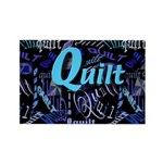 Quilt Blue Dark Rectangle Magnet