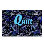 Quilt Blue Dark Postcards (Package of 8)