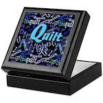 Quilt Blue Dark Keepsake Box