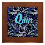 Quilt Blue Dark Framed Tile