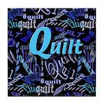 Quilt Blue Dark Tile Coaster