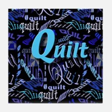 Quilt Blue Dark Tile Coaster