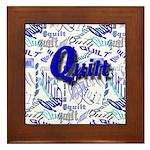 Quilt Blue Framed Tile