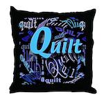 Quilt Blue Dark Throw Pillow