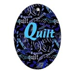Quilt Blue Dark Oval Ornament