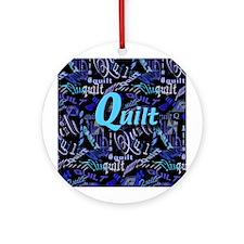 Quilt Blue Dark Ornament (Round)