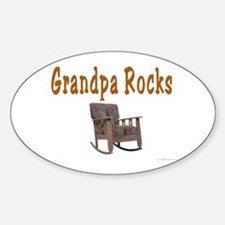 Grandpa Rocks Oval Decal