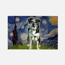 Starry / Catahoula Leopard Dog Rectangle Magnet (1