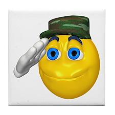 Saluting Soldier Face Tile Coaster