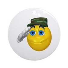 Saluting Soldier Face Ornament (Round)