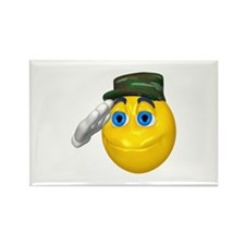 Saluting Soldier Face Rectangle Magnet