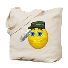Saluting Soldier Face Tote Bag