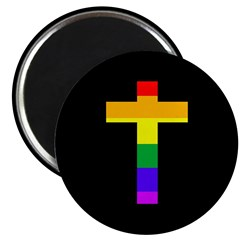 Rainbow Cross Round Metal Magnet