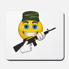 Smiling Soldier and Gun Mousepad