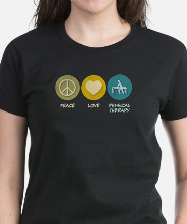 Peace Love Physical Therapy Women's Dark T-Shirt