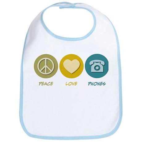 Peace Love Phones Bib