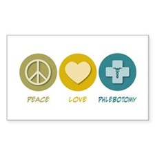 Peace Love Phlebotomy Rectangle Decal