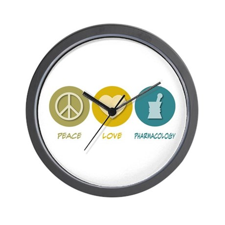Peace Love Pharmacology Wall Clock