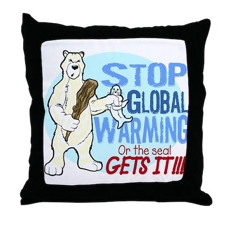 Global Warning! Throw Pillow