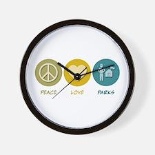 Peace Love Parks Wall Clock