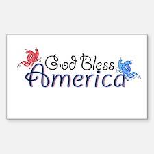 God Bless America Butterflies Sticker (Rectangular