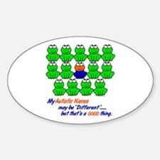 Different FROGS 1 (Nieces) Oval Decal