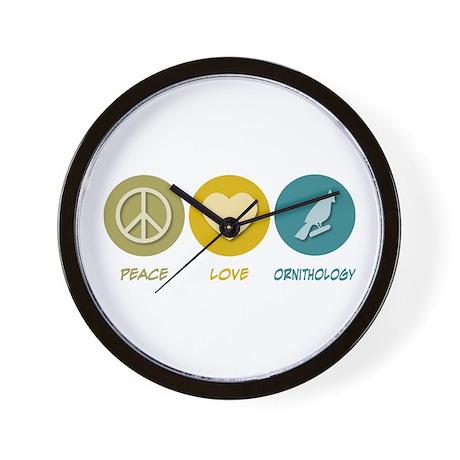 Peace Love Ornithology Wall Clock