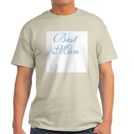 Best Man Blue Elegant Text Ash Grey T-Shirt