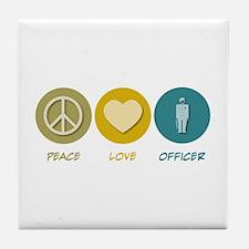 Peace Love Officer Tile Coaster