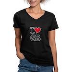 Great Britain Heart Women's V-Neck Dark T-Shirt