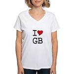 Great Britain Heart Women's V-Neck T-Shirt