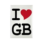 Great Britain Heart Rectangle Magnet (100 pack)