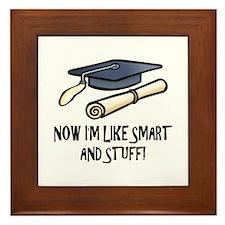 Smart Funny Grad Framed Tile