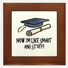 Smart Funny Grad Framed Tile