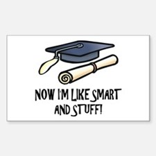 Smart Funny Grad Rectangle Decal