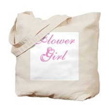 Flower Girl Elegant Pink Text Tote Bag