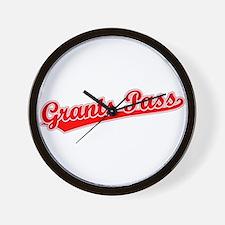 Retro Grants Pass (Red) Wall Clock