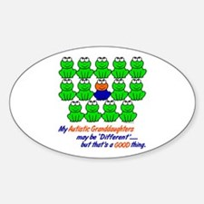 Different FROGS 1 (Granddaughters) Oval Decal