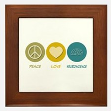 Peace Love Neuroscience Framed Tile