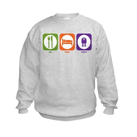 Eat Sleep Trains Kids Sweatshirt