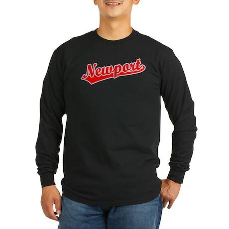 Retro Newport (Red) Long Sleeve Dark T-Shirt