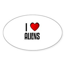 I LOVE ALIENS Oval Decal