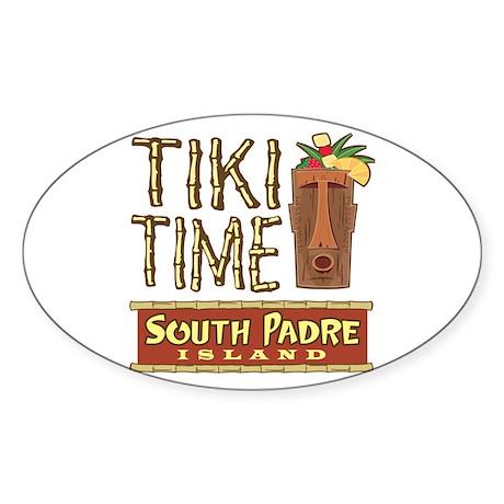 Tiki Time on South Padre - Oval Sticker
