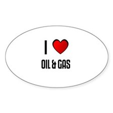 I LOVE OIL & GAS Oval Decal